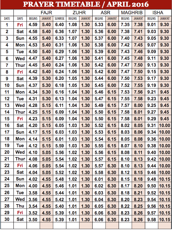 Camberley Mosque April prayer time table