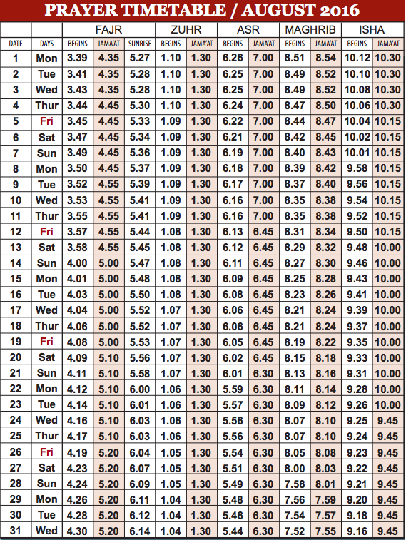 Camberley Mosque August prayer time table