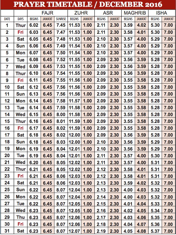Camberley Mosque December prayer time table