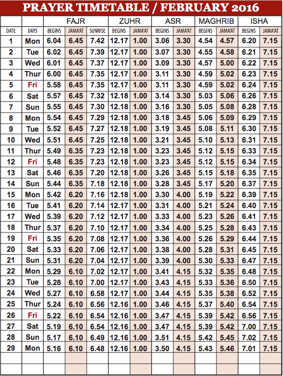 Camberley Mosque February prayer time table