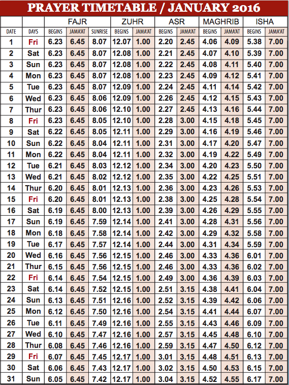 Camberley Mosque January prayer time table
