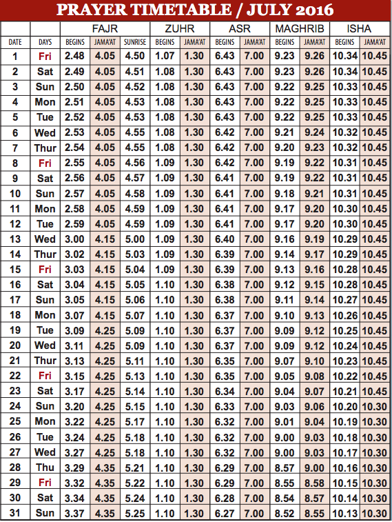 Camberley Mosque July prayer time table