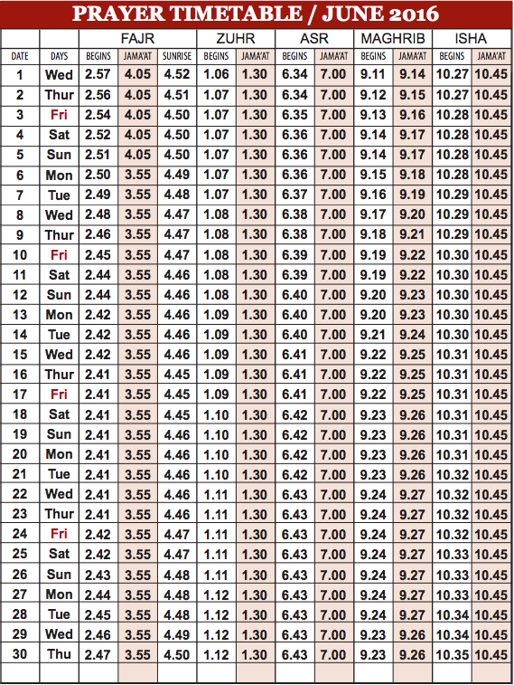 Camberley Mosque June prayer time table