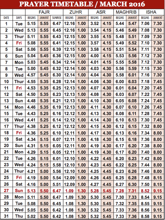 Camberley Mosque March prayer time table