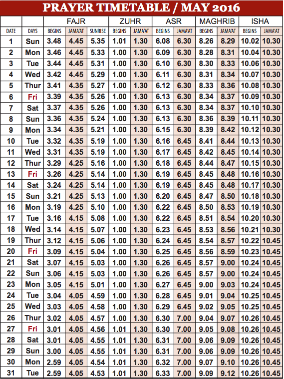 Camberley Mosque May prayer time table