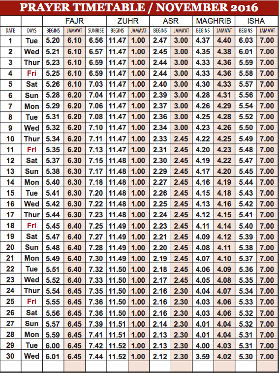 Camberley Mosque November prayer time table