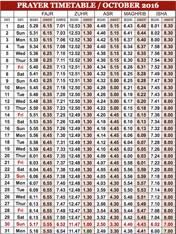 Camberley Mosque October prayer time table